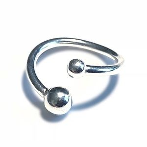 Solid 925 Silver Plated with Platinum Bead Ring